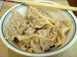 Shui Jiao styled dumplings in a bowl